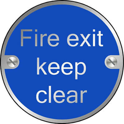 Fire Exit Keep Clear Disc Sign