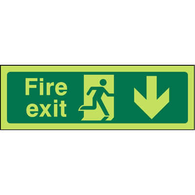 Fire exit below glow-in-the-dark sign