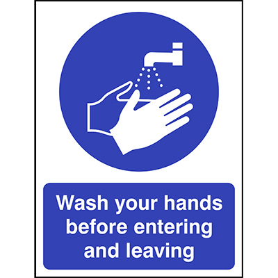 Wash hands before entering and leaving sign