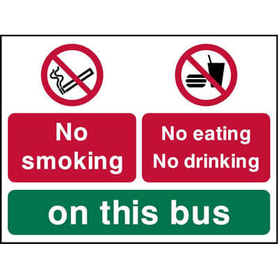 No smoking no eating no drinking on this bus