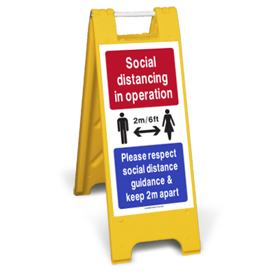 social distancing standing sign