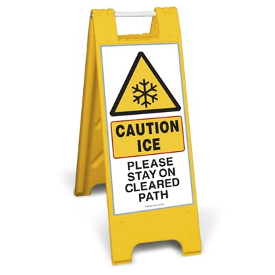 Caution ice please stay on cleared path sign stand