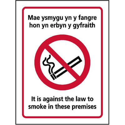 Welsh No Smoking Law Sign