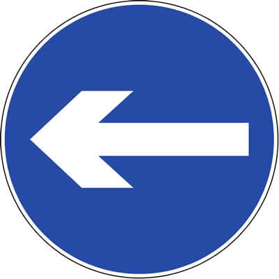Proceed left/right sign
