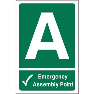 Emergency assembly point location sign