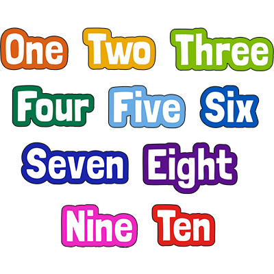 Fun Number Word Sign Set One to Ten