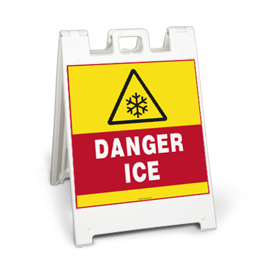 Danger Ice Sign Stand Large