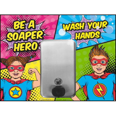 Be a Soaper Hero Hand Cleaning Wall Station